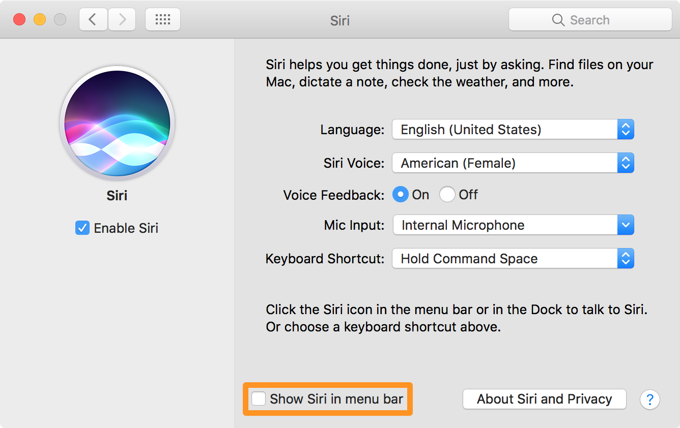 Show siri in menu bar Macos