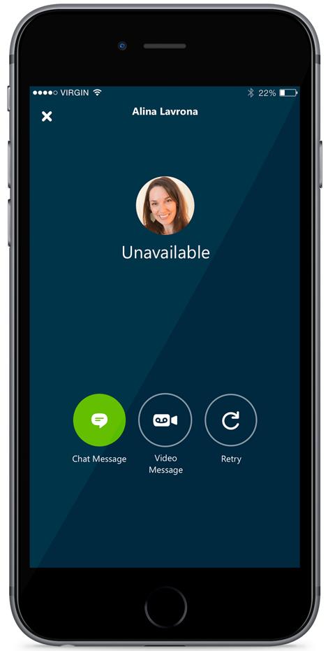 Captura de pantalla 001 del iPhone del correo de voz de Skype para iOS