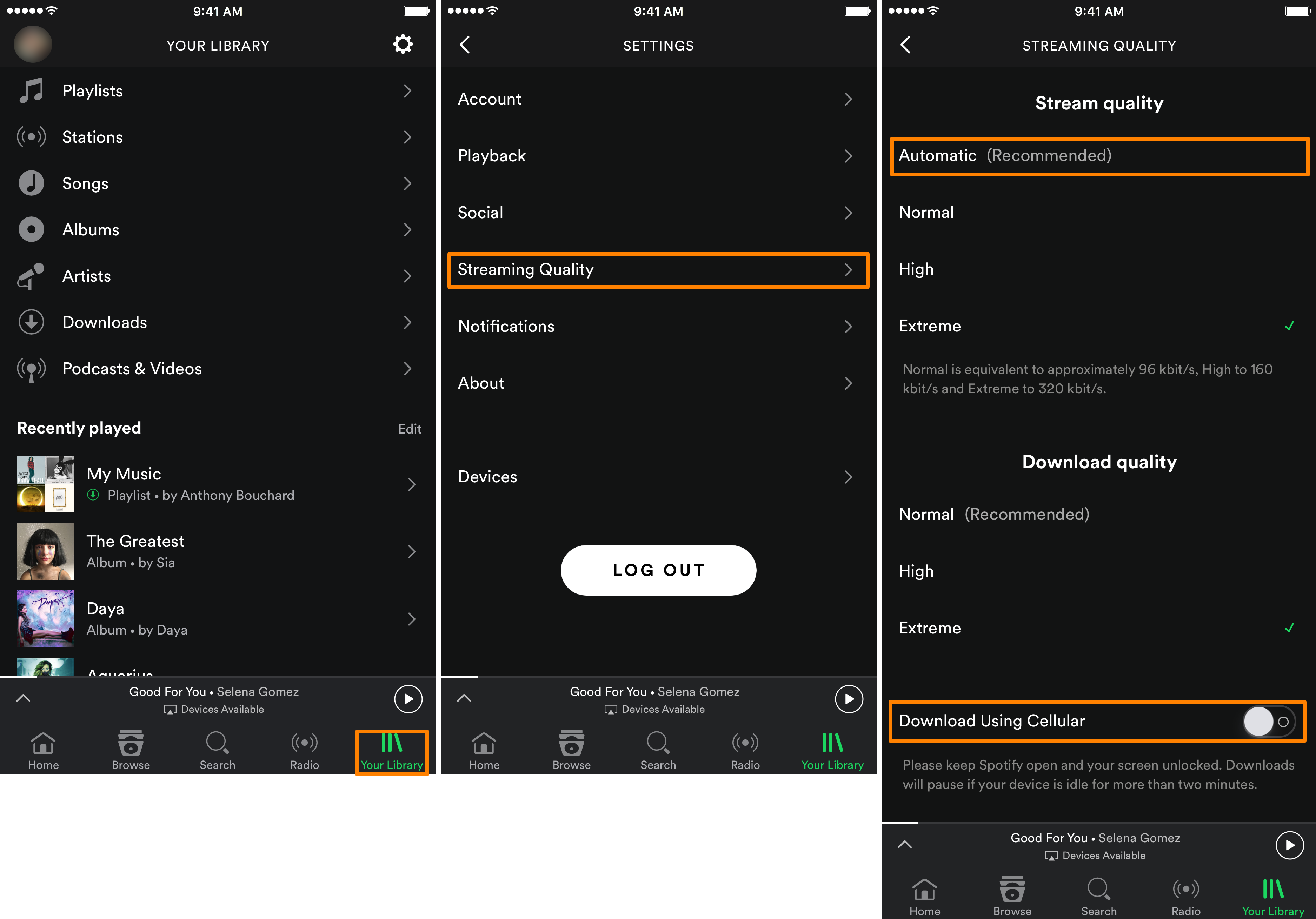 Spotify Streaming Quality Cellular