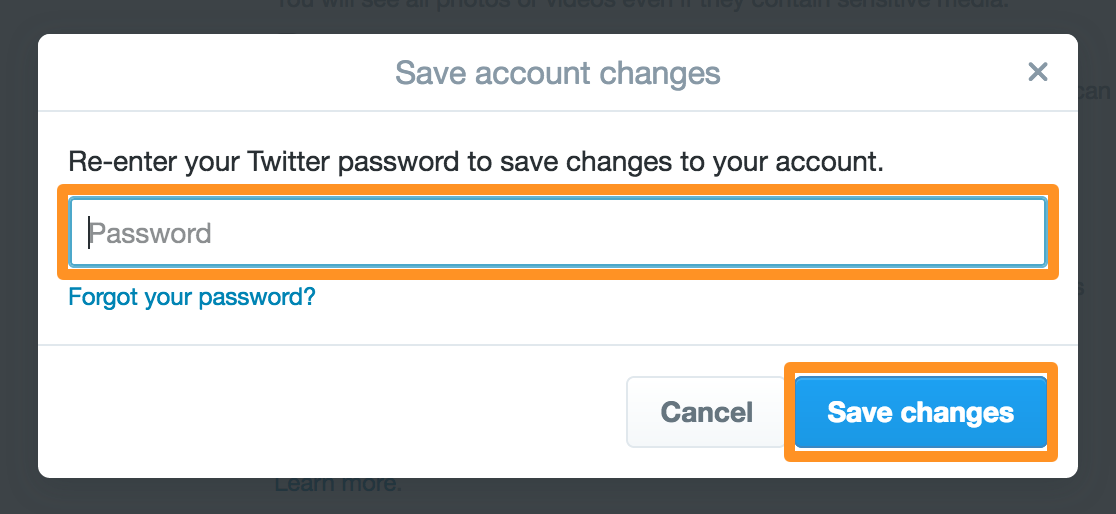 Twitter Account Settings Password