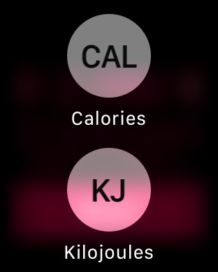 calories kilojoules watch