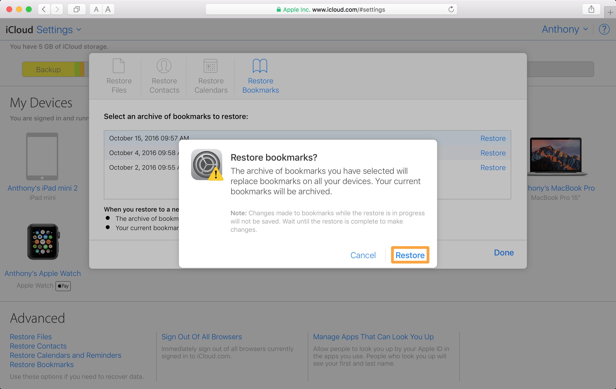 iCloud Restore Bookmarks Prompt