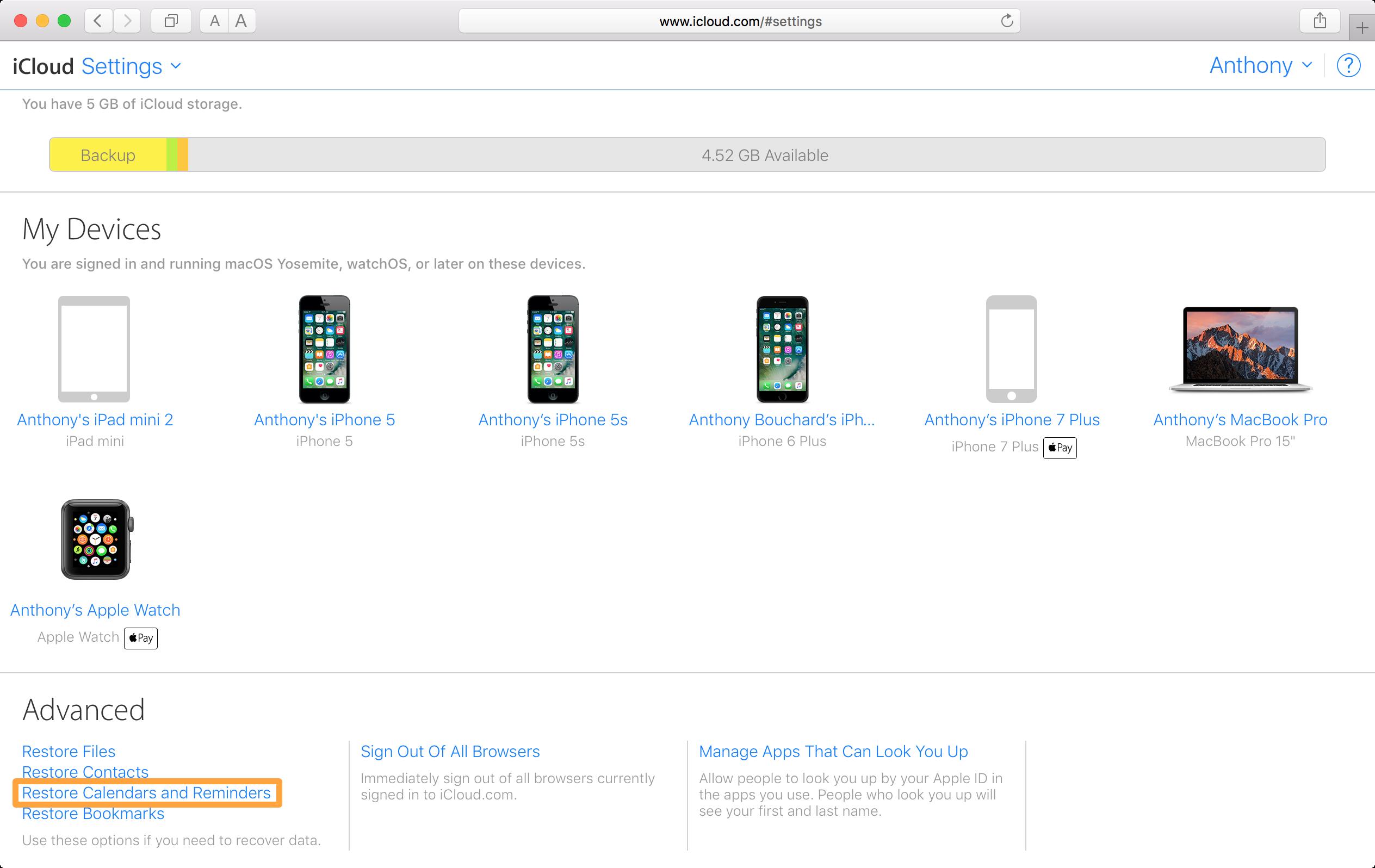 iCloud Restore Calendars and Reminders