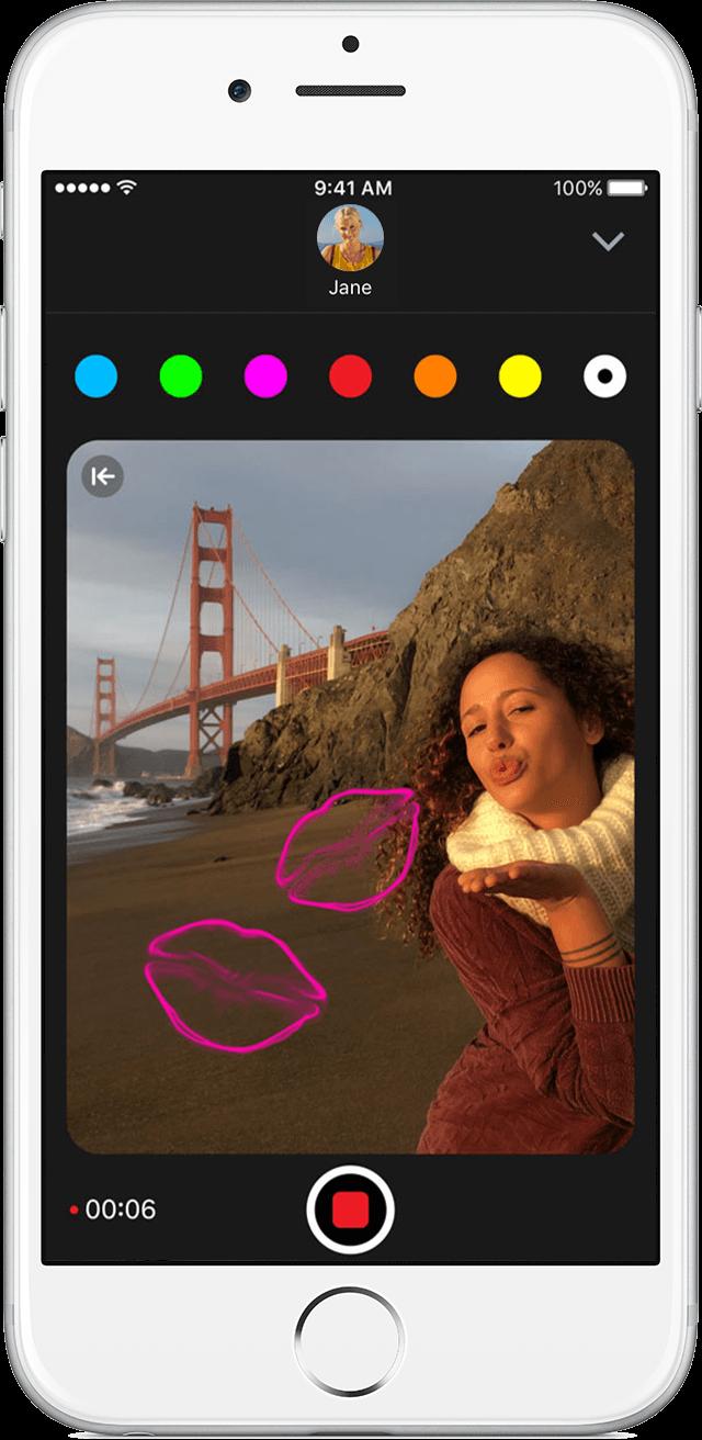 Captura de pantalla 001 de iPhone 10 con foto de boceto Digital Touch de iPhone