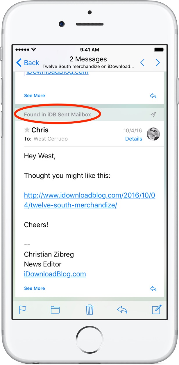 iOS 10 Mail Conversation View iPhone screenshot 001