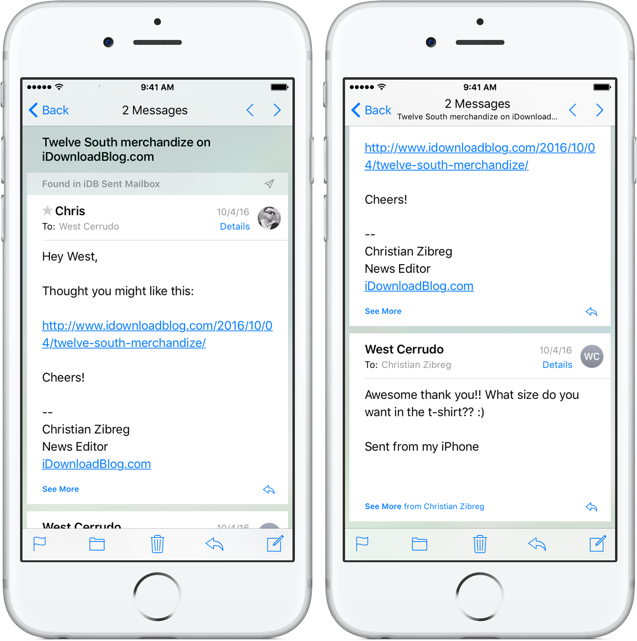 iOS 10 Mail Conversation View iPhone screenshot 006