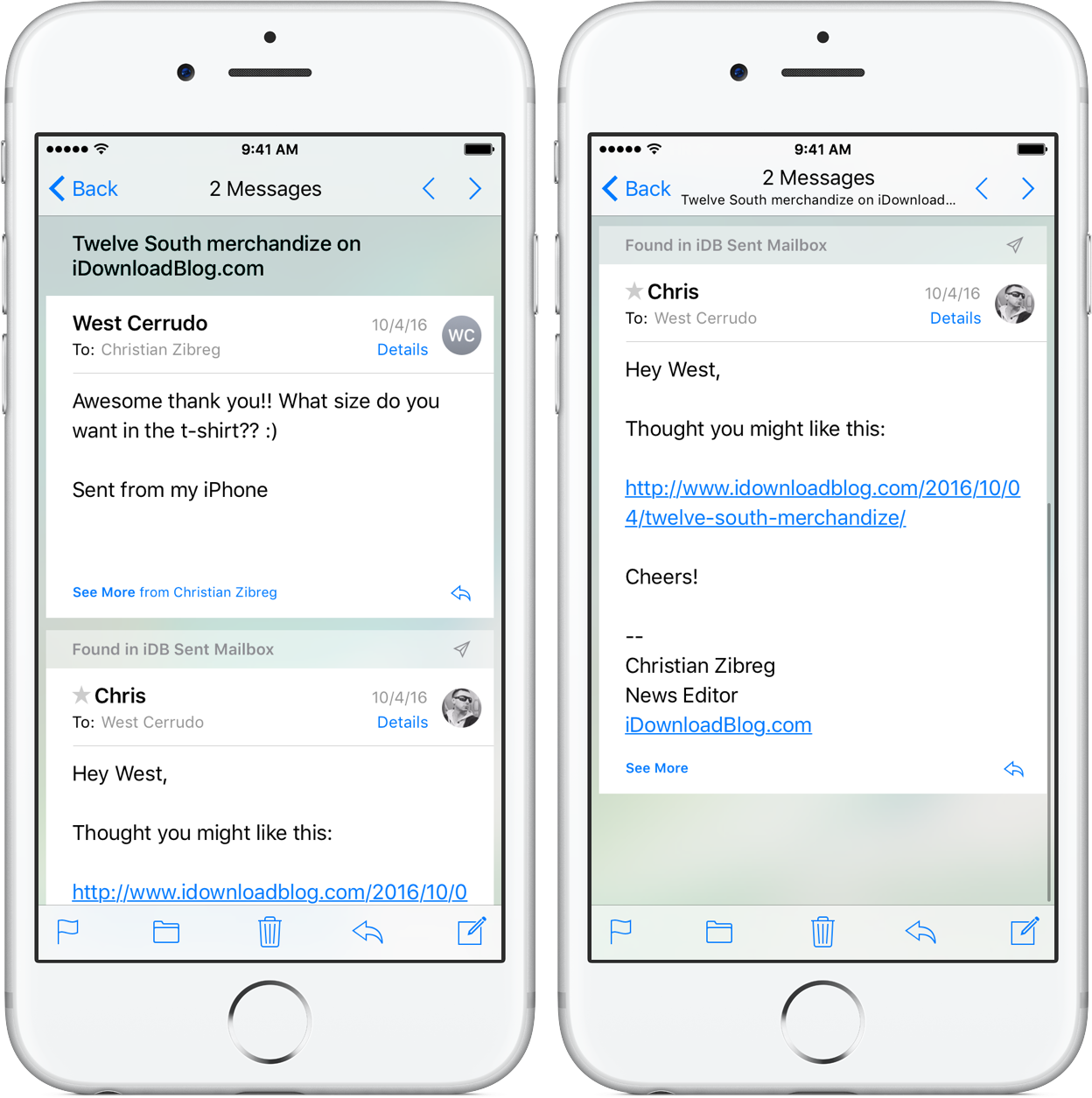 iOS 10 Mail Conversation View iPhone screenshot 007