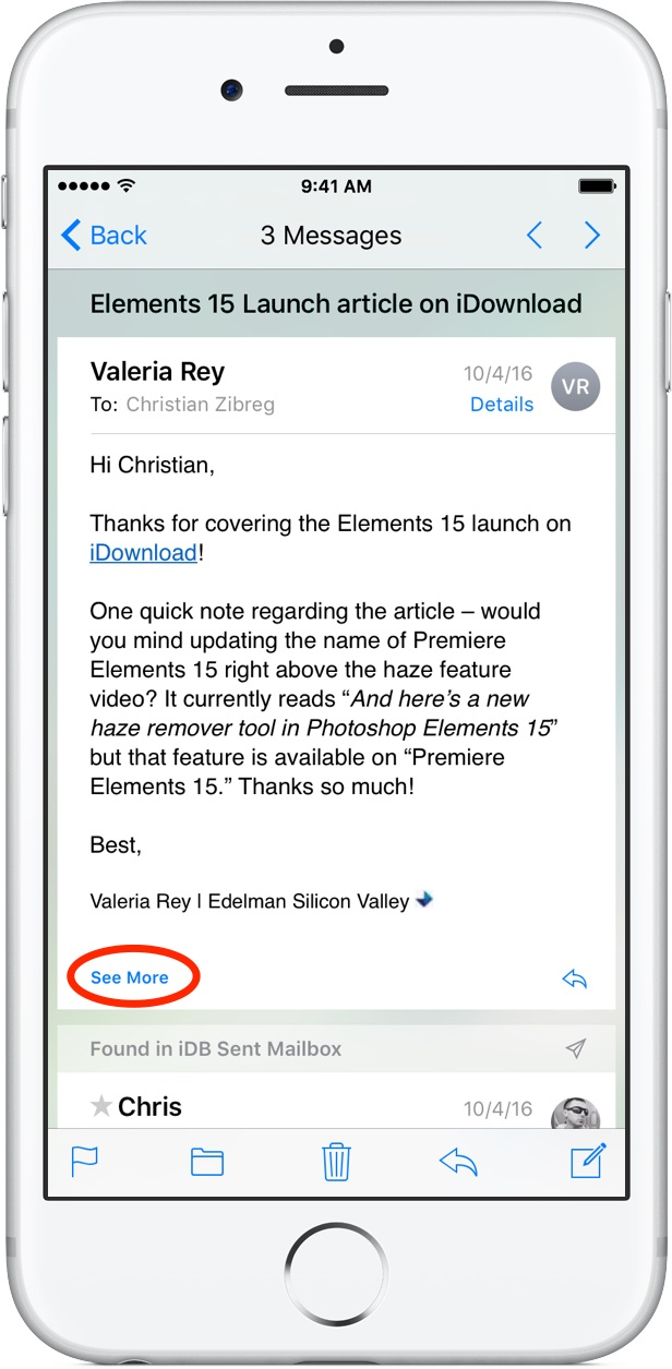 iOS 10 Mail Conversation View iPhone screenshot 008