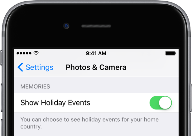 iOS 10 Memories holdiay events setting iPhone screenshot 001