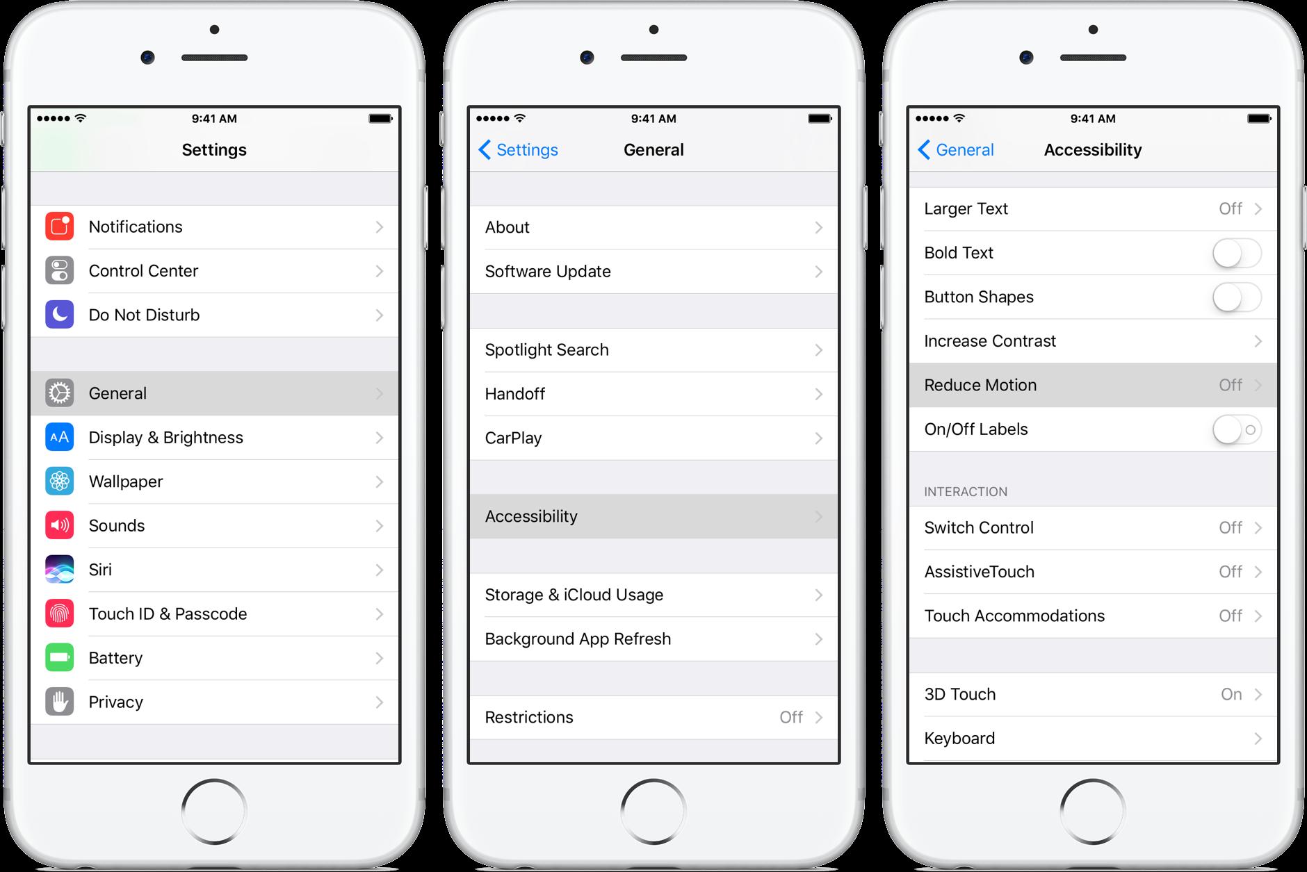 iOS 10 Settings Reduce Motion iPhone screenshot 001