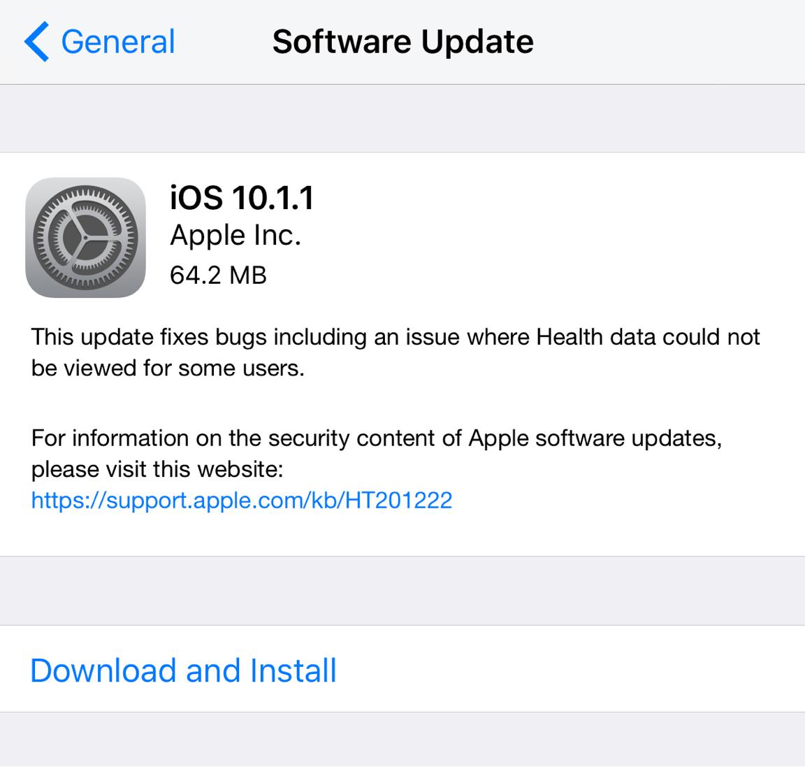 iOS 10.1.1 Health Data Fix