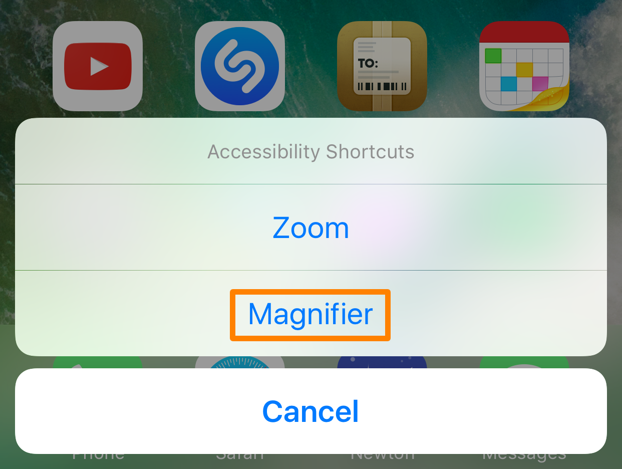 iPhone Accessibility Shortcut Magnifier
