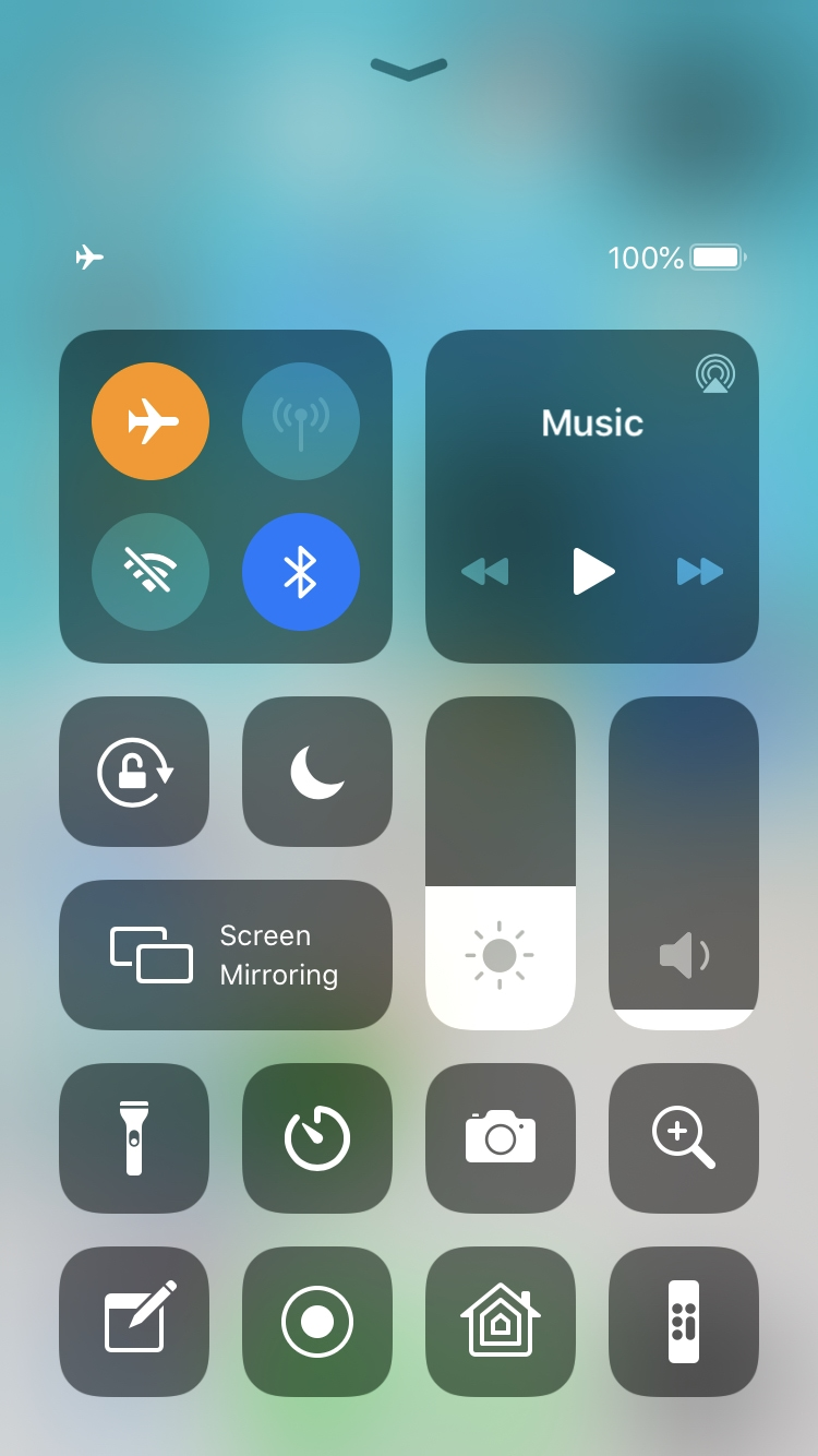 iPhone Control Center Airplane Mode On