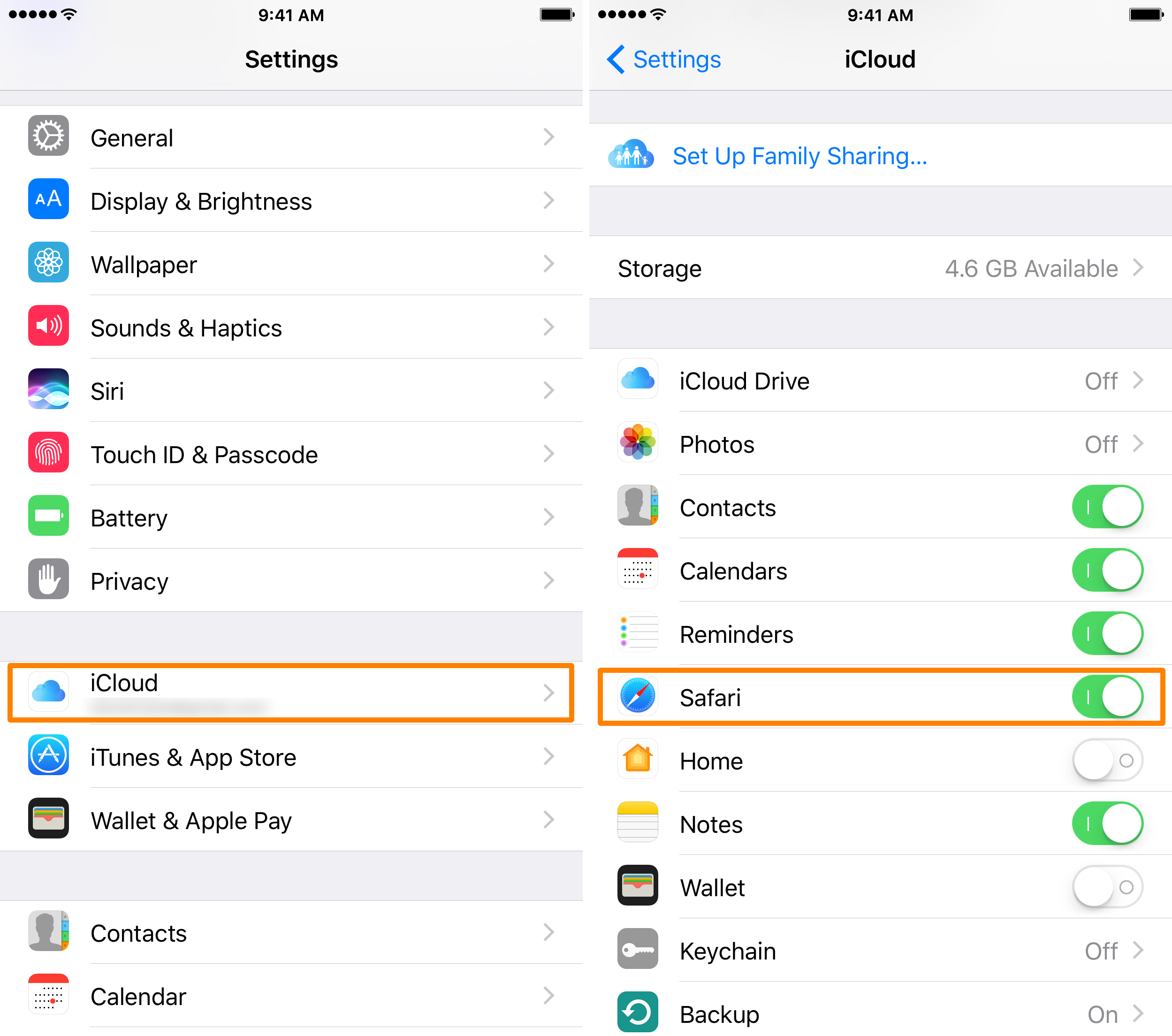 iPhone iCloud Safari Setting Enabled
