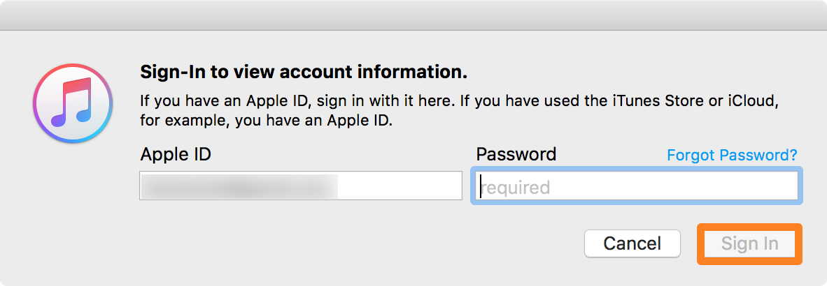 iTunes Sign Into Apple ID