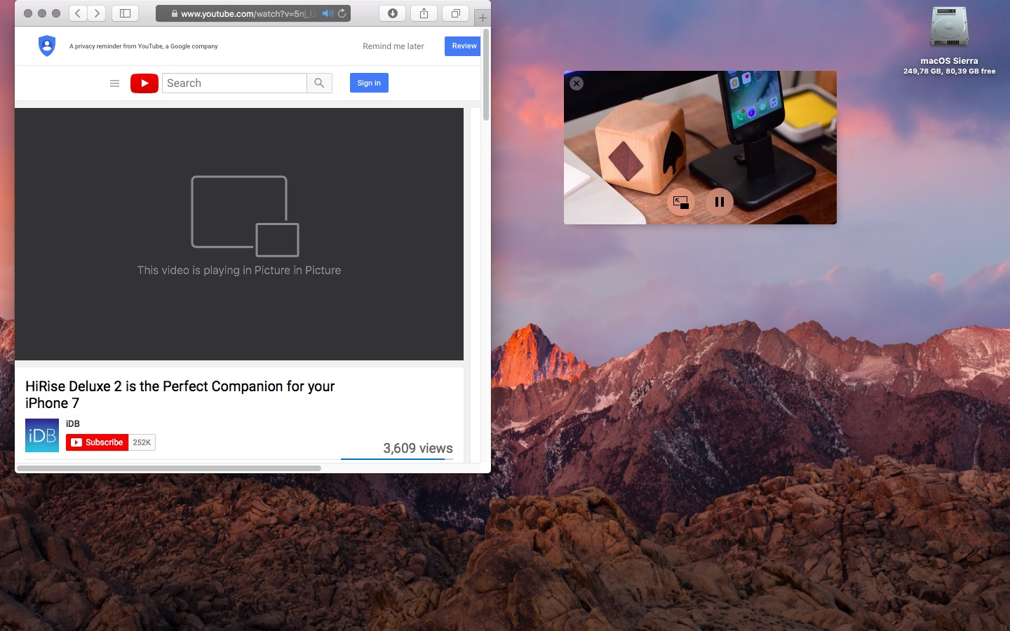 macOS Sierra Picture in Picture anywhere on screen Mac screenshot 001