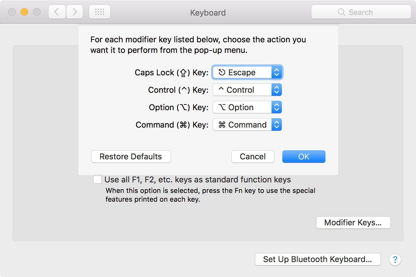 ESC key rebinding in macOS