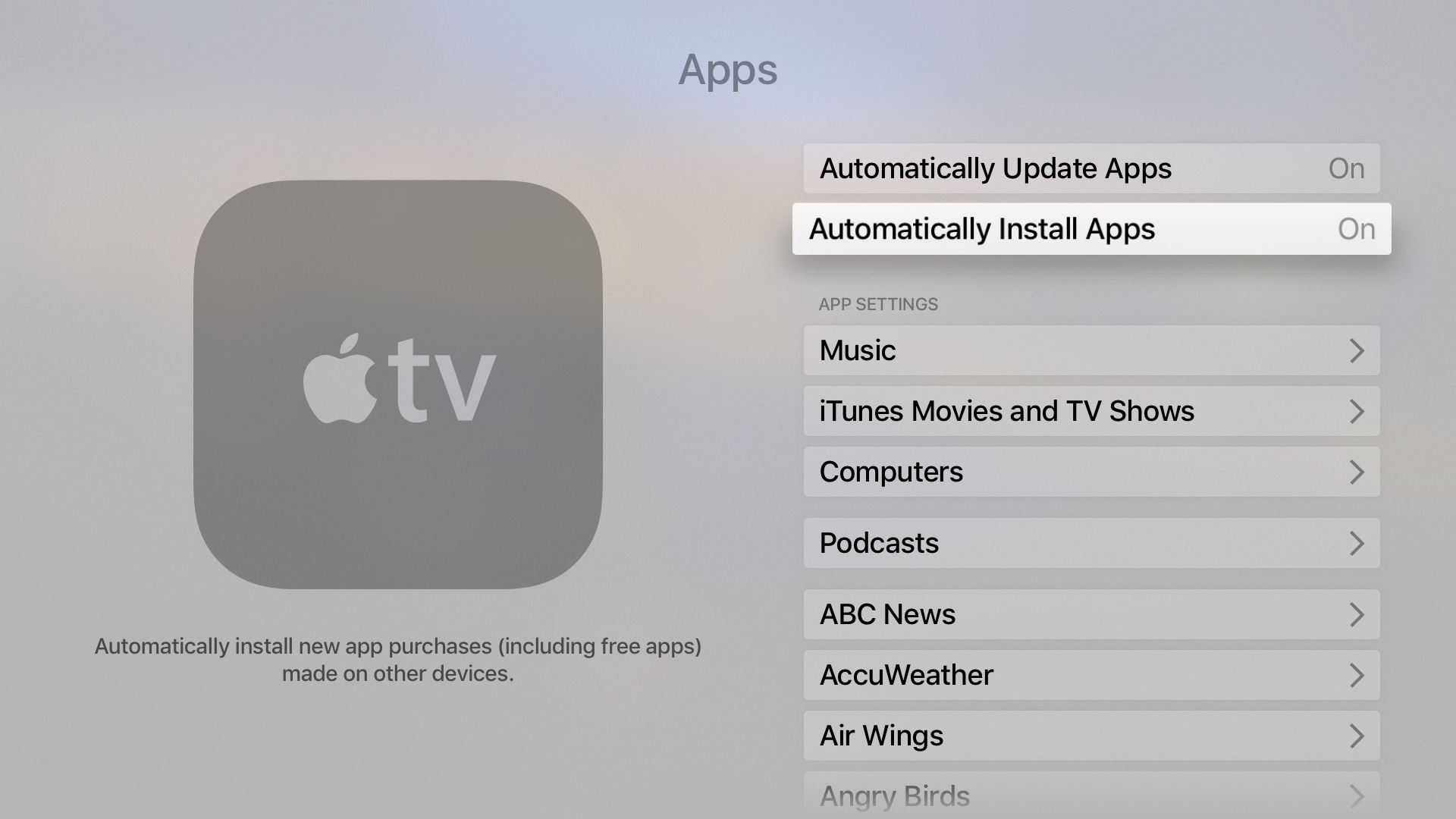 tvOS Settings Automatically Install Apps Apple TV screenshot 002