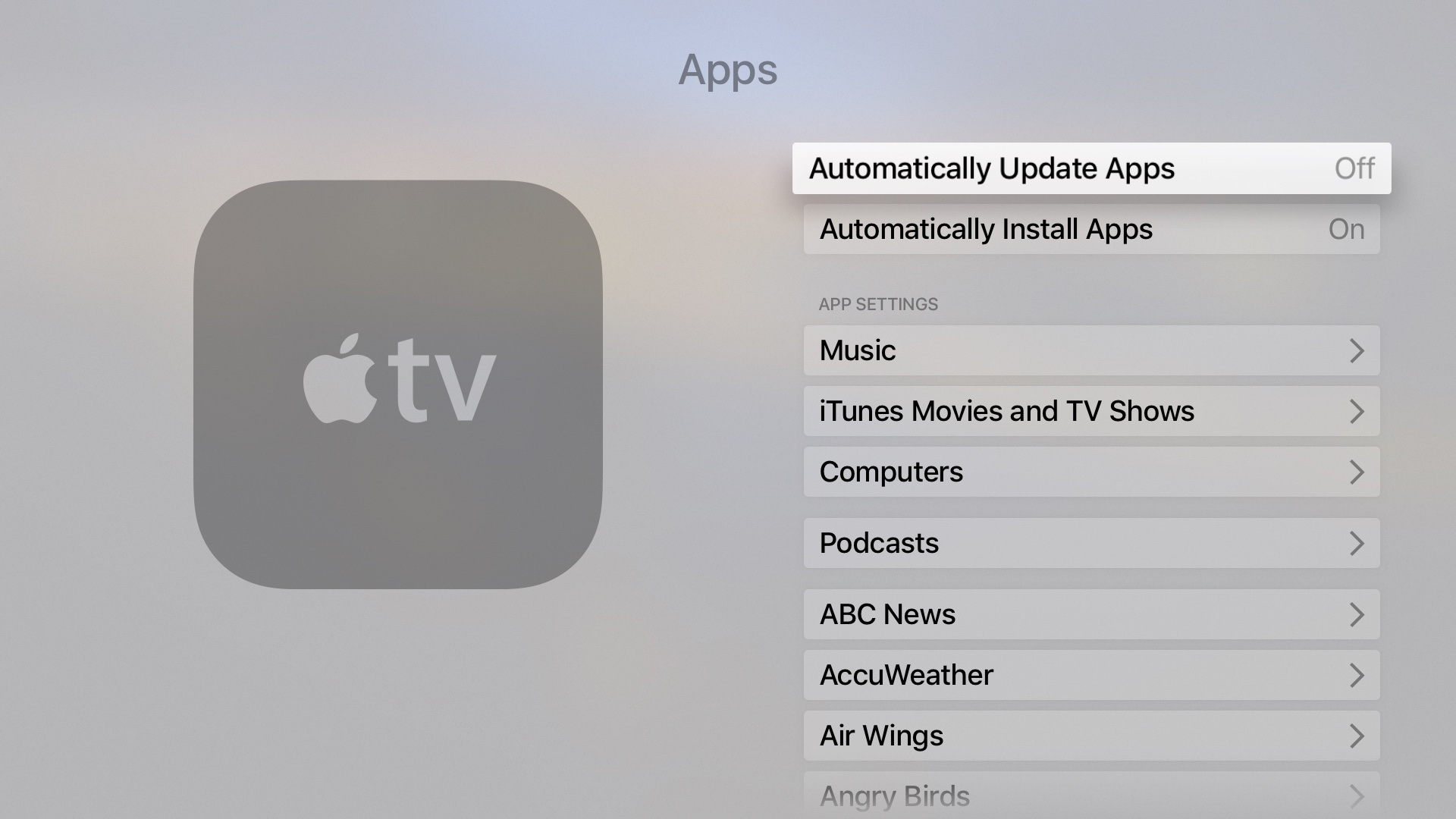 tvOS Settings Automatically Update Apps Apple TV screenshot 003