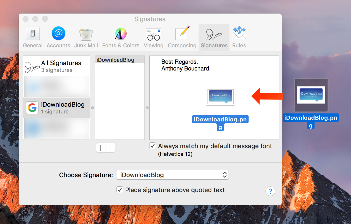 how to add image to email signature mac