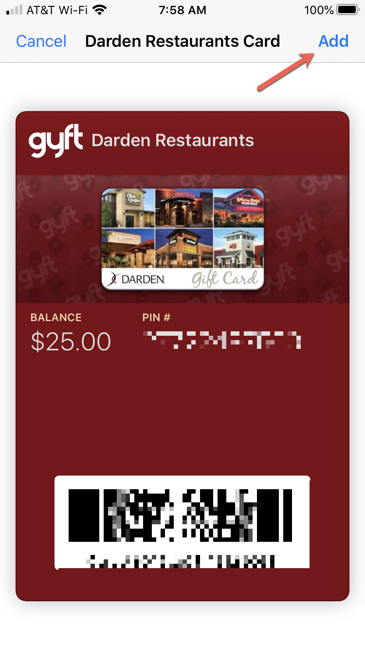 Add Wallet Pass Gift Card iPhone