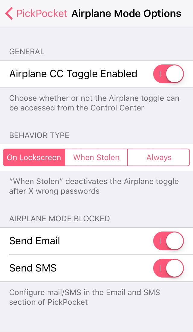 Airplane Mode Options PickPocket