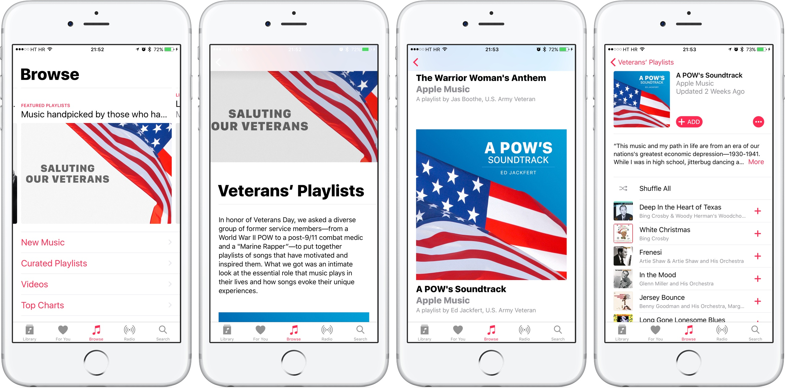 Apple Music 2016 Veterans Day section