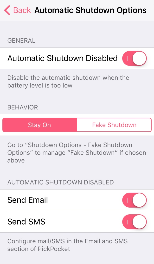 Automatic Shutdown Options PickPocket