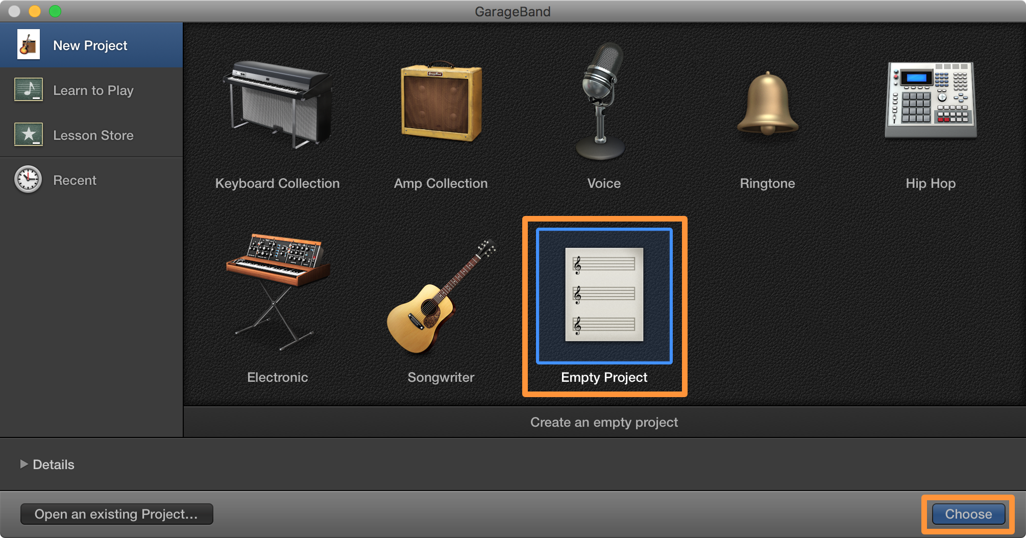 Garageband Choose Button
