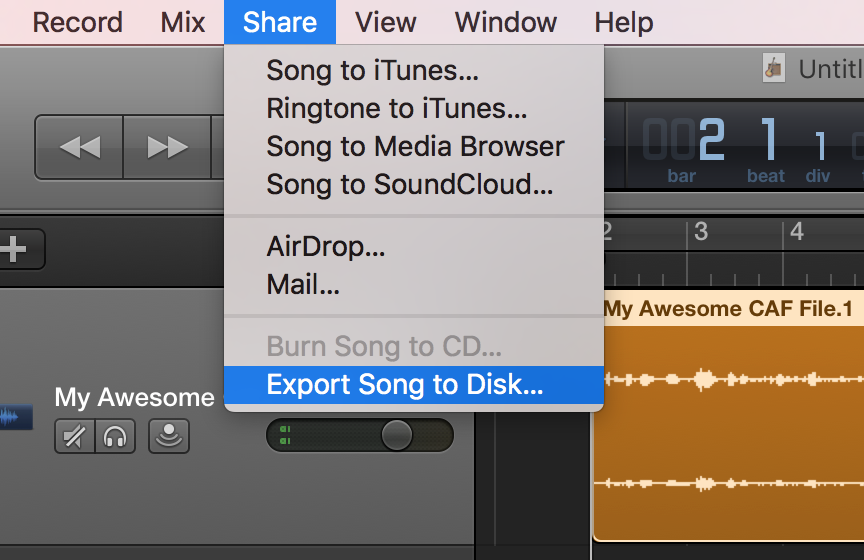 Garageband Share Export Song to Disk