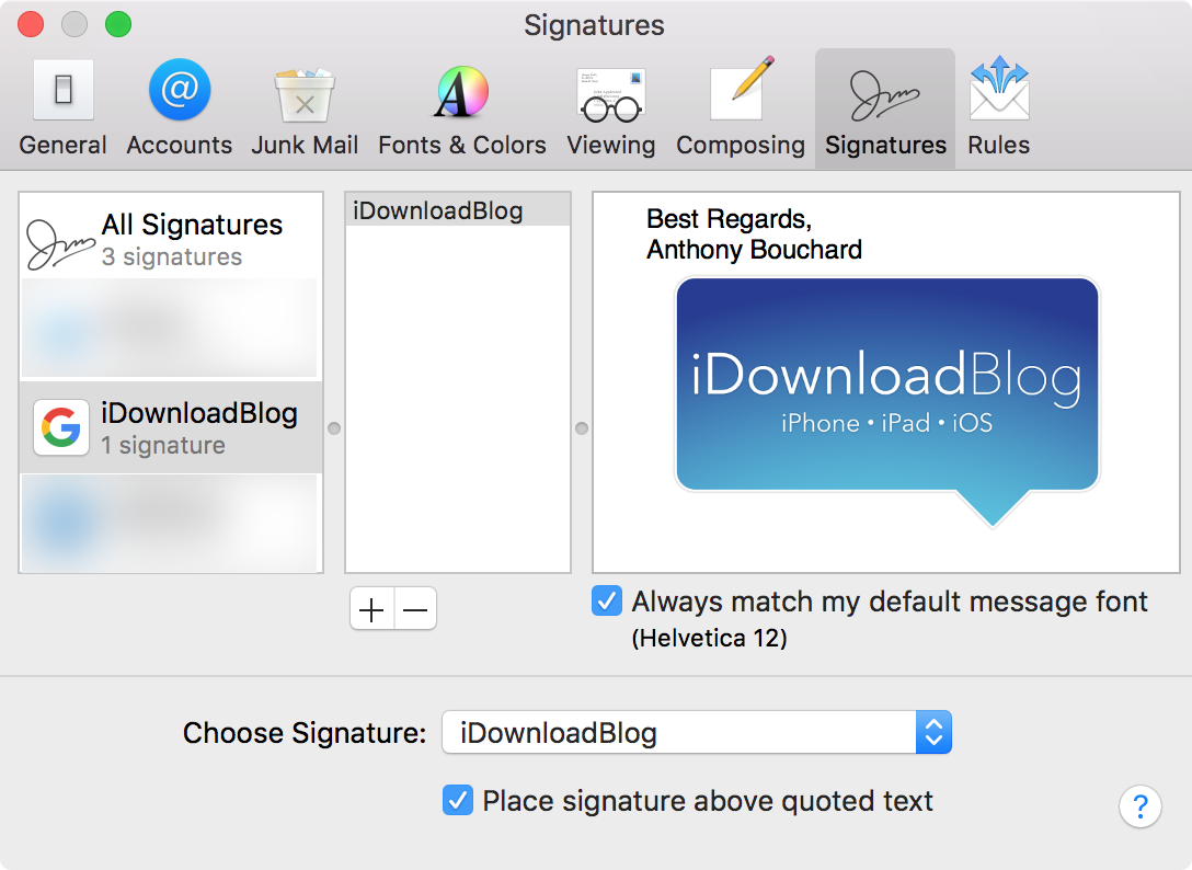 add image to email signature mac