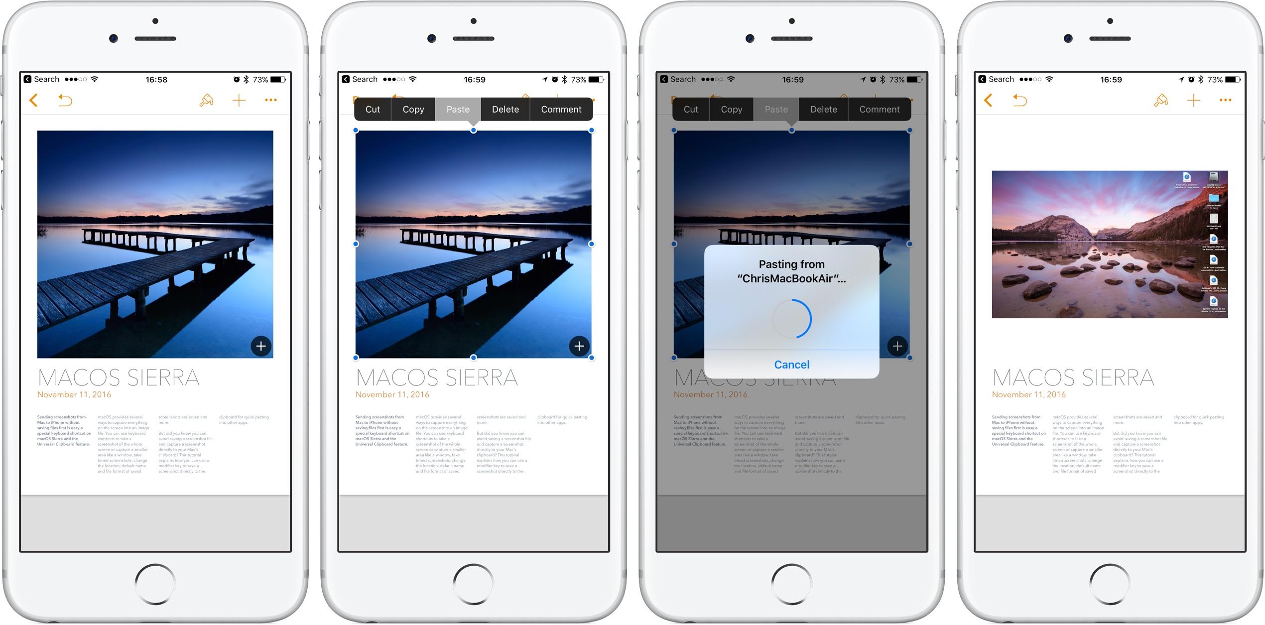 Captura de pantalla 001 de Pages Universal Clipboard iPHone