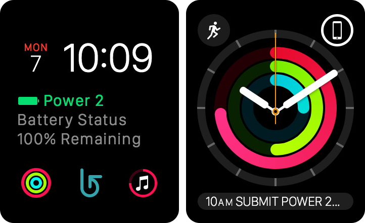 Power 2 watch face and glance
