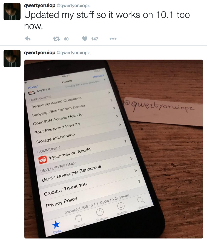 Qwertyoruiop iOS 10-1-1 jailbreak