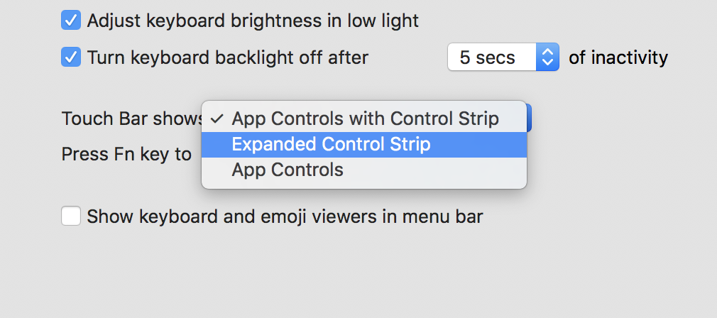 Persistent Expanded Control Strip