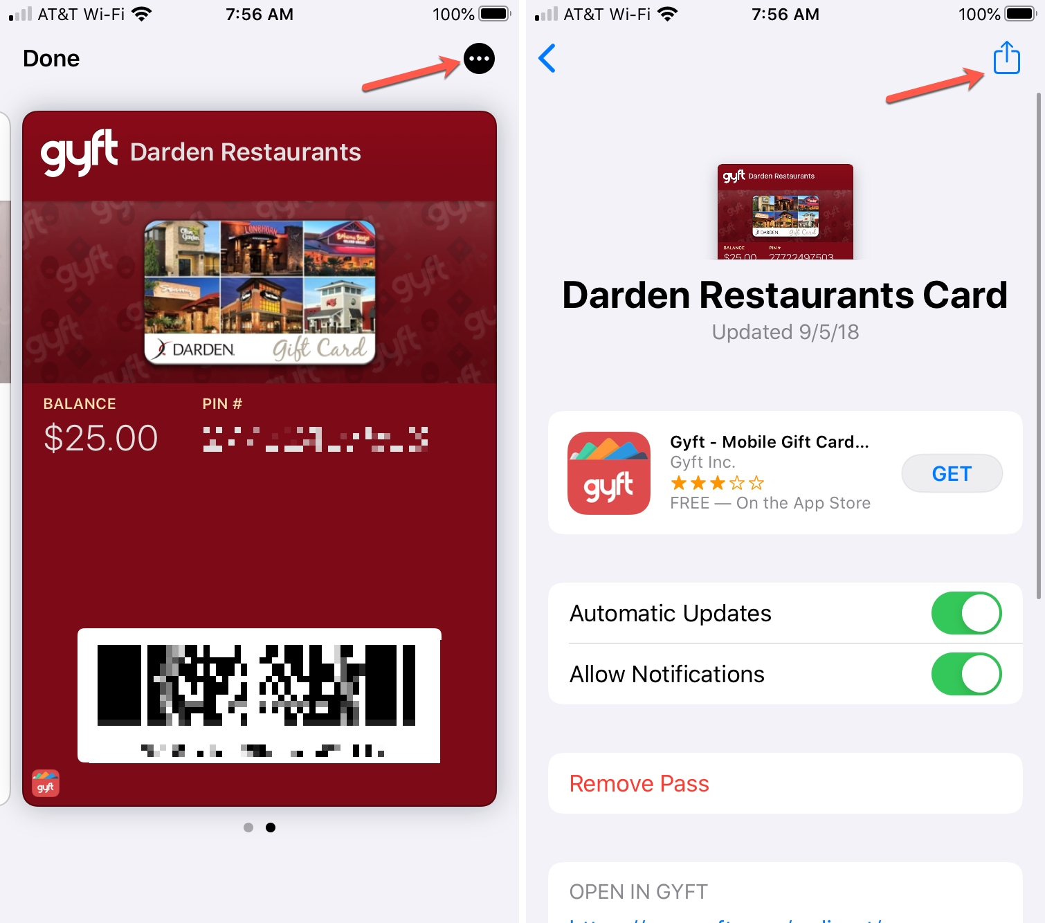 Share Wallet Pass Gift Card iPhone