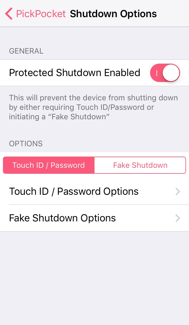 Shutdown Options pickPocket
