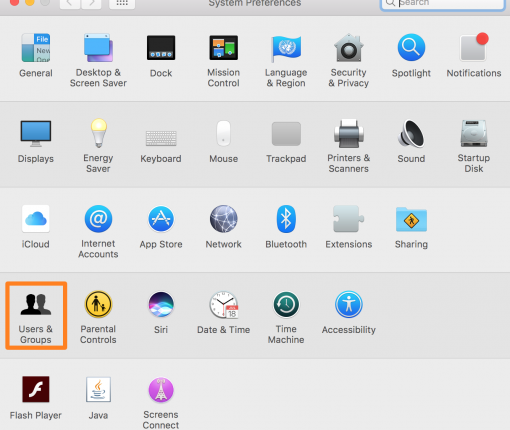 System Preferences Users and Groups