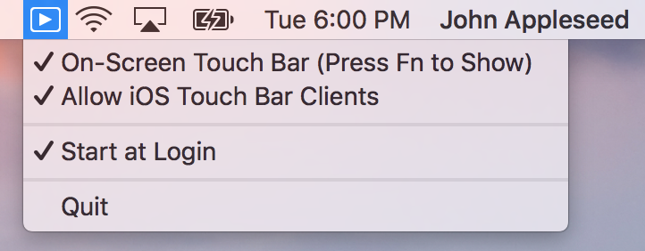 TouchBarServer Menu Bar
