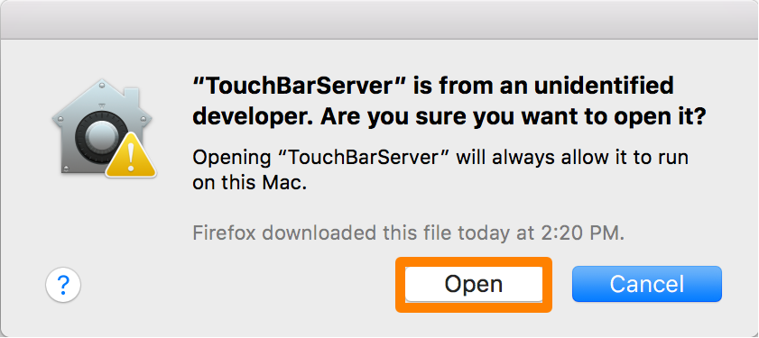 TouchBarServer Open