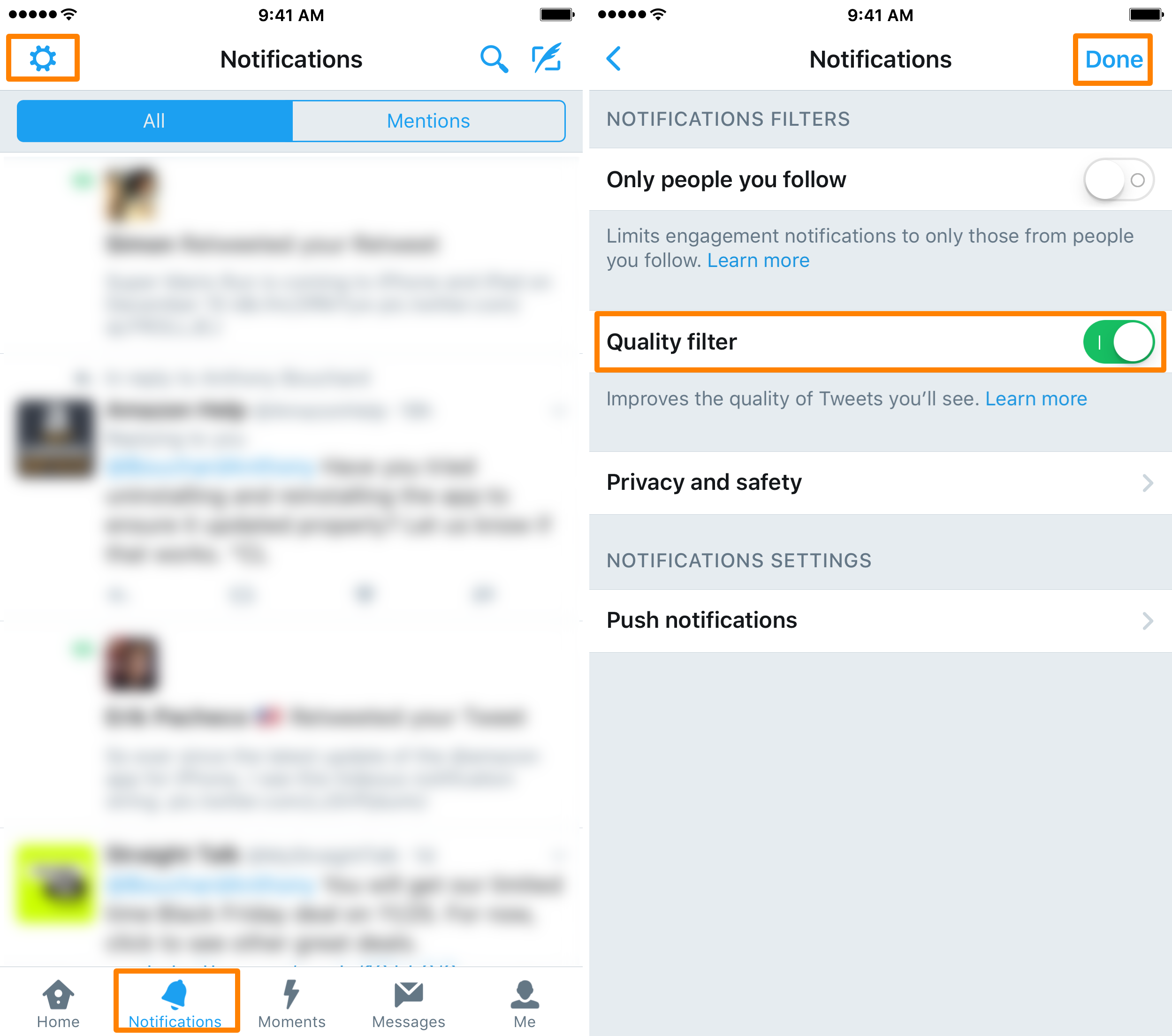 Twitter Notifications Tab Settings Quality Filter iOS