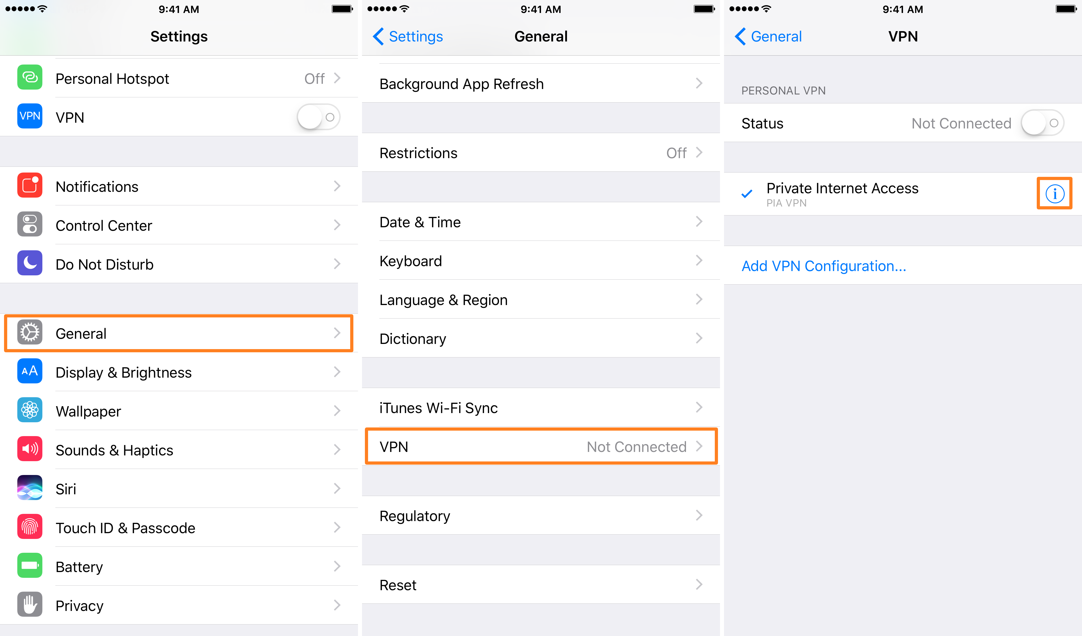 VPN on demand settings iOS