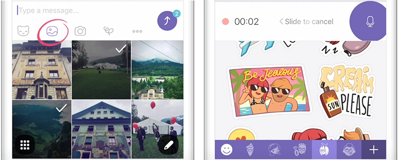 Viber 6.5 for iOS media menu