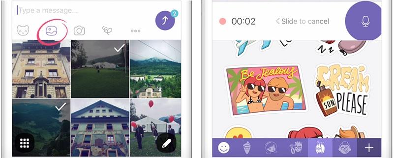 Menú de medios de Viber 6.5 para iOS