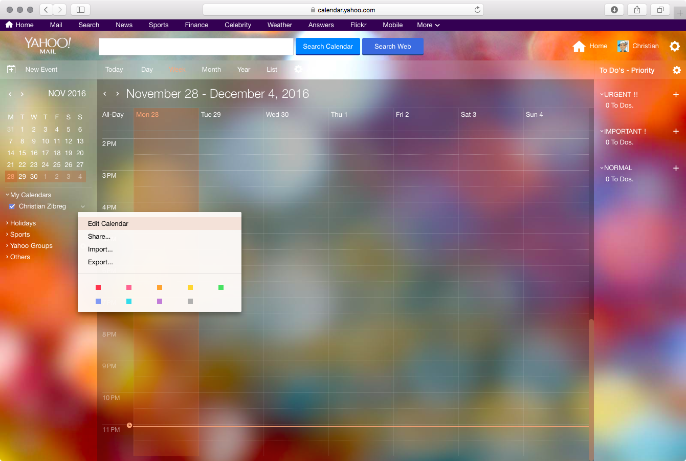 Yahoo Calendar export web screenshot 001