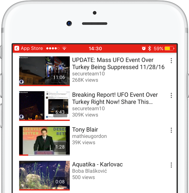 YouTube for iOS progress indicator watched videos iPhone screenshot 001