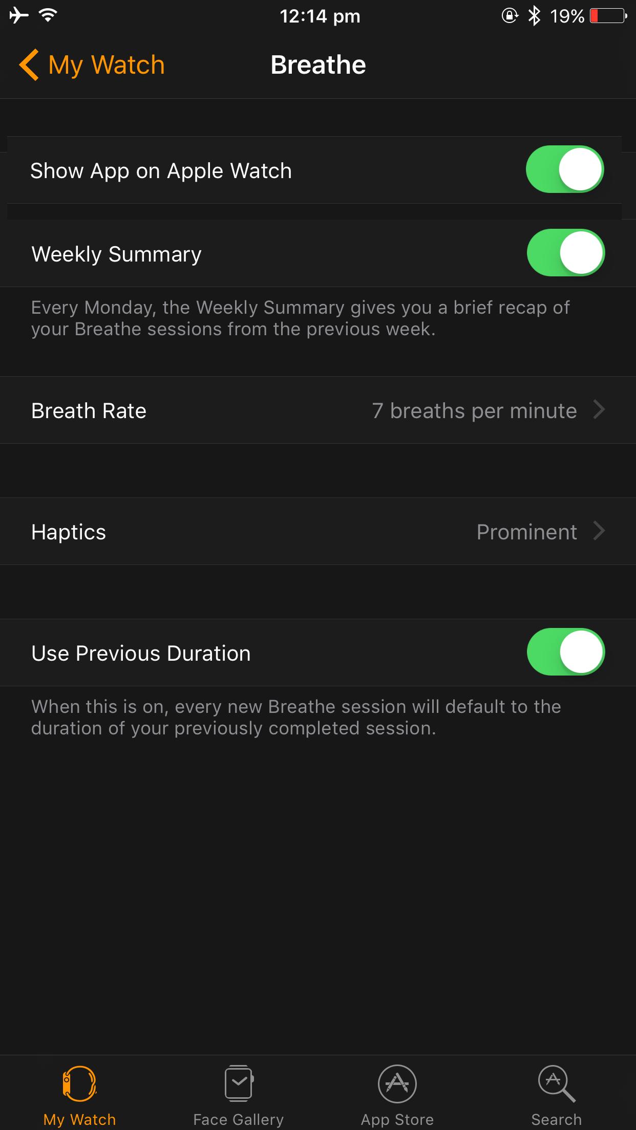 breathe app settings ios10
