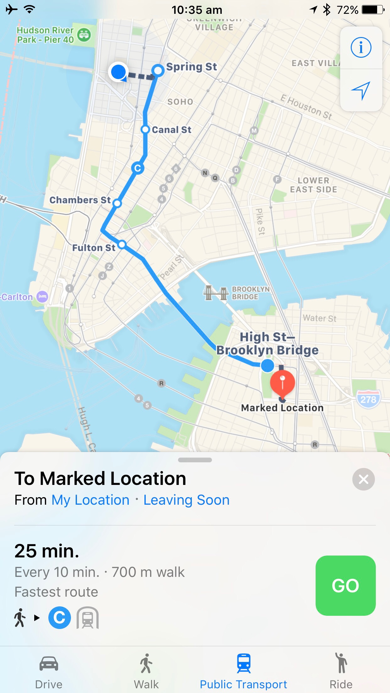 directions maps ios10