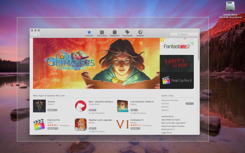 how to take screenshot mac app store