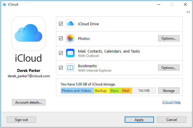 iCloud for Windows PC screenshot 001